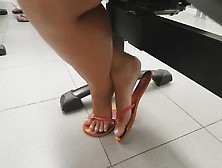 Candid Feet Play In Flip Flops Faceshot