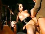 Raunchy Brunette Lara Stevens Gags On Two Huge Dicks Before Gett
