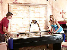 Lewd Blonde Has Her Tight Coochie Stretched On A Table Hardcore