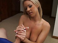 Bodacious Blonde Cougar Carolyn Reese Works Her Hands On Harry's
