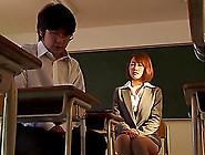 Sexy Japanese Teacher Enjoys Being Gang Banged By Her Horny Stud