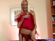 Blonde English Mature In Stockings Teases