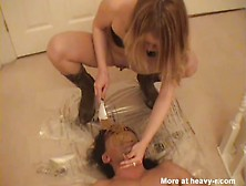 Slut Shits On Scat Slave's Face
