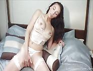 Amazing Babe In Fishnet Stockings Masturbates For You