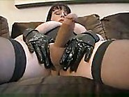 Plump Fetish Tranny Masturbates In Gloves