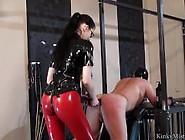 Sexy Latex Mistress Fucks Slaves Ass