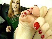 Hot Milf Touching Her Sexy Red Nail Polish On Her Toes In Perfec
