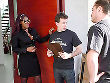 Ebony Hottie Gets Double Teamed By Horny White Studs