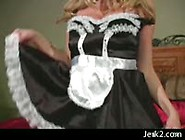 Big Boobed Blonde Anita In Nylon Hose And Cute Maid Dress