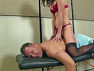 Massage Handjob Babe Ties Up His Cock And Balls