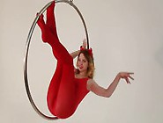 Fame Girls Foxy Pussy Play On A Giant Ring Swing,  Red Pantyhose