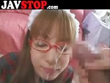 Japanese Girl Blowjob Facial Glasses