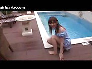 Hot Japanese Girl Outdoors In The Pool