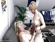 Old Lesbian Has Two Girls