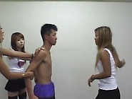 Hot Jap Teens Torture Their Slave