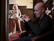 Blonde Bitch In Bra And High Heels Fucks Up Steamy Hardcore Offi