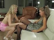 Cute Little Blond Licks An Older Womans Pussy.