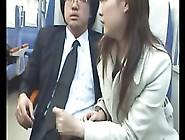 Wanton Japanese Jerks Companion's Cock Off In Subway Car