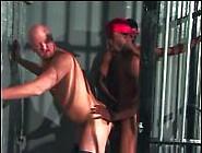 Interracial Threesome Fucking In Prison