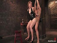 Brunette Dominatrix In Latex Tina Horn Humiliates Her Slave