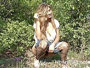 Hairy Woman Riana S Enjoys Her Walk Outside