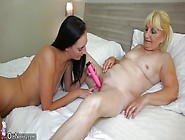 Horny Granny And Sexy Bitch Playing With Dildo