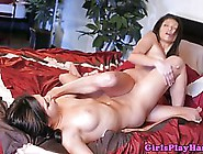 Pretty Lesbians Are Rubbing Each Other'S Shaved Wet Pussy While