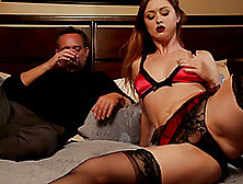 Elegant Karlie Montana Plays With Her Shaved Pussy Next To The G