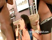 Busty Eva Karera Chockes On Two Black Cocks