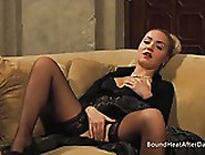 Massaging Her Wet Pussy In Silk Black Panties