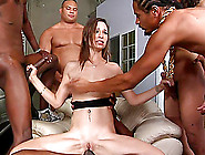 Cougar With Small Tits Is Gangbanged And Enjoys Dp In An Interra