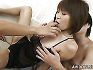 Two Horny Dudes Suck Big Boobies Of Stunning Short Haired Japane