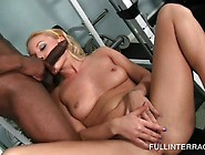 Kinky Blonde Eats Large Black Dick At The Gym