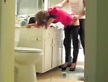 Slutty Immature With High Heels Get Qucik Doggy In Bathroom