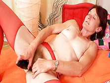 Old Insatiable Bitch Matylda Toys Her Hairy Ugly Pussy In Solo