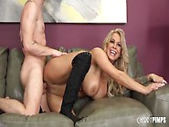Big Titted Blonde Milf Alyssa Lynn Rides A Hard Cock On The Couc