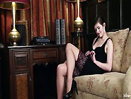 Babe In Stockings Is Masturbating Gently