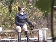 Mature Brunette Caught On Tape While Spreading Legs