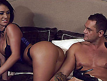 Hot,  Busty Pornstar Works Up A Sweat Riding A Guy's Hard Cock