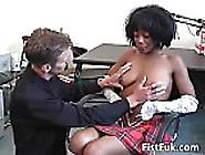 Hot Ebony Gets Pussy Fucked By A Hard White Cocks