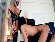 Dominant Blond Lesbo In Mask Smacks Brunette's Ass And Licks Her