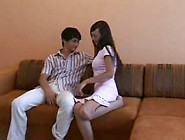 Young Amateur Teen Couple -Creampie Sex On Couch For First Time