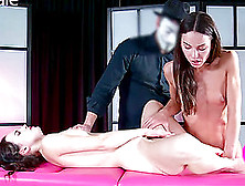 Hot Small Tits Brunette Lesbian Anal Getting Inserted With Toy