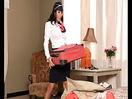 Busty Brunette Stewardess Gives A Great Blowjob