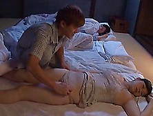 Aroused Husband Tempted To Unpin His Sleeping Wife's Panties Bef
