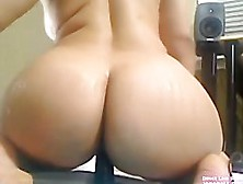 Sexy Bbw Pinky Masturbating Until She Squirts & Rides Big Dildo