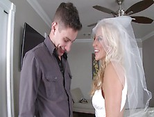 Nasty Blonde Bride With Big Boobies Rides A Terrific Meat Pole