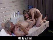 Old Man Fucked By Kinky Masseuse Girl At Salon