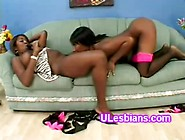 Big Black Lesbian Drills Young Booty Girlfriends Twatum-On-One-B