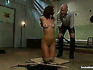 Clothed Stud Mark Devis Teases And Fucks Nude Tied Up Chick